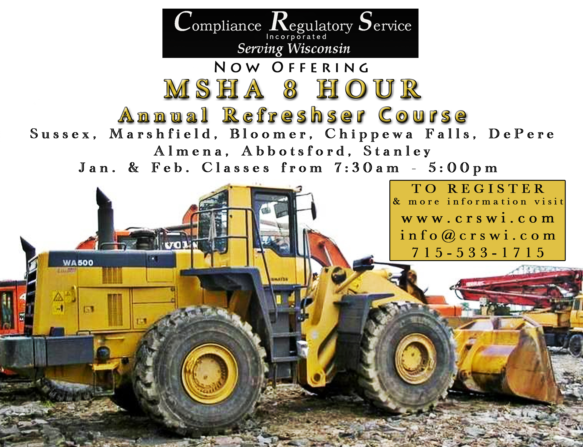 Msha Refresher Training Classes Wisconsin Annual Msha